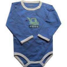 FIXONI Baby Body für Jungs in blau mit Bagger