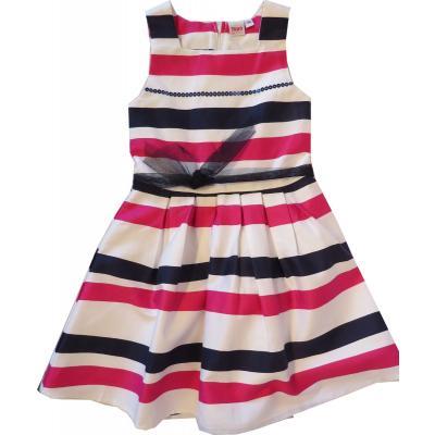 Topo festliches Kleid weiß rosa blau geringelt