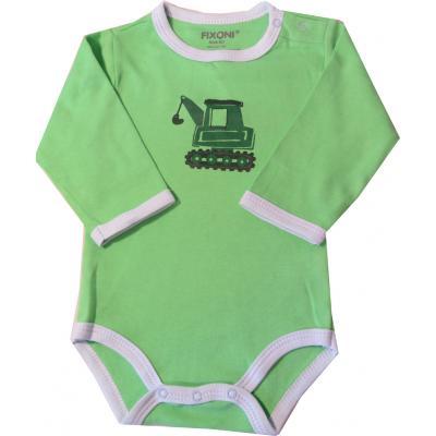 FIXONI Baby Body in grün mit Bagger Gr. 62
