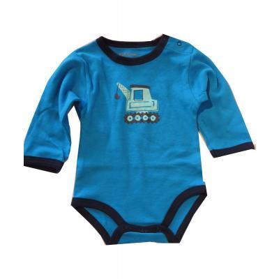 FIXONI Baby Body für Jungen mit Bagger,blau