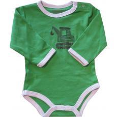 FIXONI Baby Body für Jungen mit Bagger grün