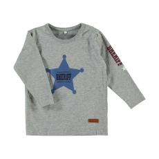 name it Baby Langarmshirt mit Sheriff Stern Heindur in grau
