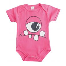 Kurzarm Body mit niedlichen Monster in Pink