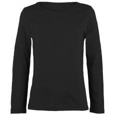 Topo einfarbiges Shirt langarm in schwarz