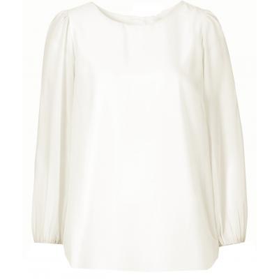 Topo festliche Chiffon Bluse mit transparenten Ärmeln wollweiß