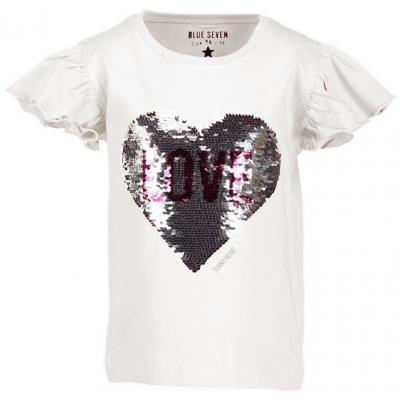Blue Seven Wende Pailletten Wechsel Shirt Herz Weiß