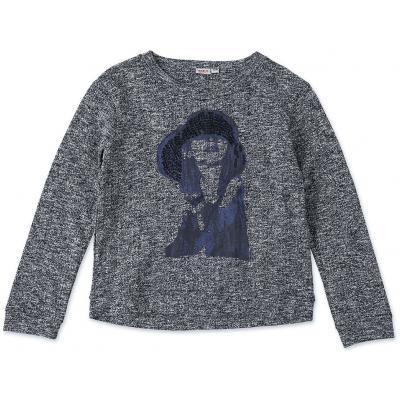 Topo Feinstrick Pullover mit Pailleten und Mädchen Motiv
