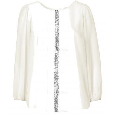 Topo festliche Chiffon Bluse mit transparenten Ärmeln Glitzer Wollweiß
