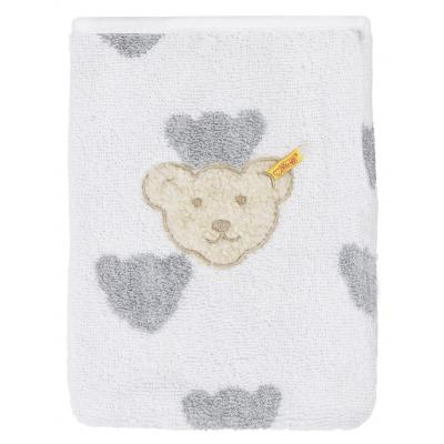 Steiff Waschlappen mit Plüsch-Bär-Applikation Bärenmuster