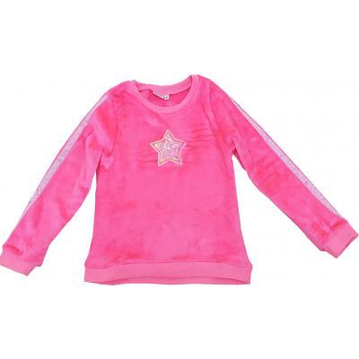 Topo Mädchen Sweatshirt Plüschshirt mit Sternchen Neon Pink