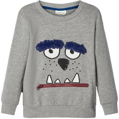 name it Sweatshirt nmmOLTI Reißverschluss Tasche Grau
