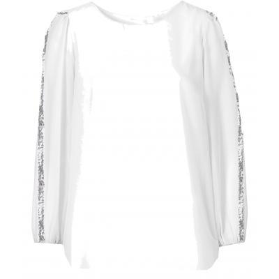 Topo festliche Chiffon Bluse mit transparenten Ärmeln + Glitzerleisten