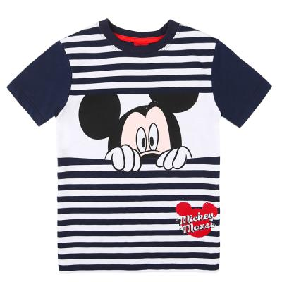 Disney Jungen T Shirt Kurzarm Mickey Mouse geringelt Dunkelblau