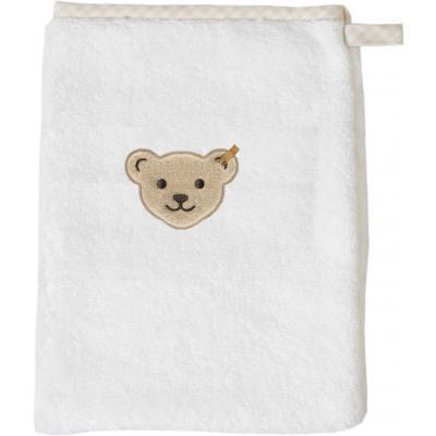 Steiff Waschlappen einfarbig mit Plüsch-Bär-Applikation Weiß