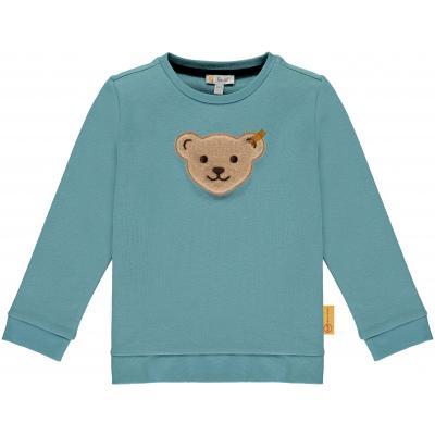 Steiff Sweatshirt mit Quietsche Bär einfarbig Blau 6045