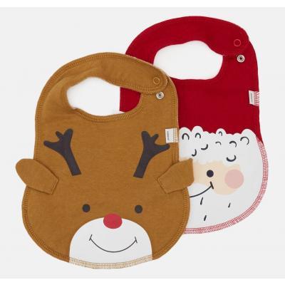 NAME IT 2 x Baby Weihnachts Lätzchen Bib nbnSANTA