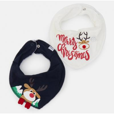 NAME IT 2x Baby Weihnachts Lätzchen Bib Merry Christmas