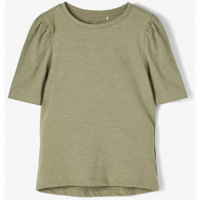 name it kurzärmliges Mädchen Shirt einfarbig Deep Lichen Green