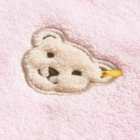 Steiff Waschlappen einfarbig mit Plüsch-Bär-Applikation Rosa