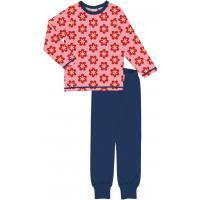 maxomorra Mädchen Schlafanzug mit Blumen Pyjama ANEMONE