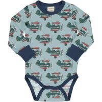 maxomorra Langarm Baby Body mit Flugzeugen AIRPLANE