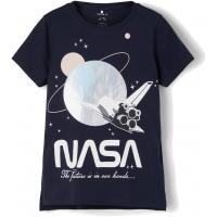 name it Mädchen T-Shirt mit NASA Logo Dunkelblau