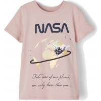 name it Mädchen T-Shirt mit NASA Logo Rosa