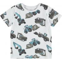 name it Kinder Kurzarm Shirt mit Baggern nmmDONNISO Weiß