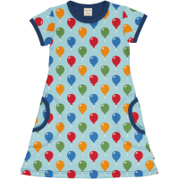 maxomorra Kurzarm Kleid Dress BALLOON in blau