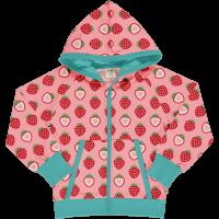 maxomorra Mädchen Kapuzenjacke mit Erdbeeren Cardigan Hood STRAWBERRY