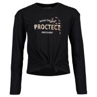 blue seven Langarmshirt Protect our Planet in schwarz