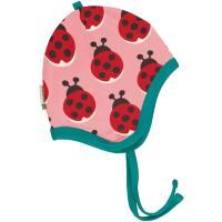 maxomorra Babymütze zum binden Helmet Velour LADYBUG